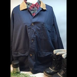 Eddie Bauer Ranch Coat Blue Canvas Corduroy Collar